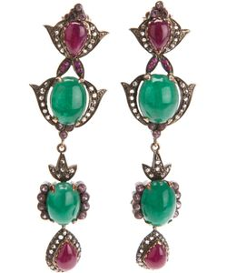 PETRALUX | 18ct Rhodium Vintage Earrings From Featuring A Drop Flower Design Made Of Emeralds Rubelites And Diamonds 0