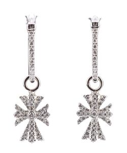 ELISE DRAY | 18kt Diamond Cross Earrings From Featuring Pave Set Diamonds And A Hook Clip Fastening