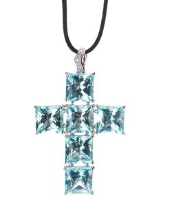 GAVELLO | Necklace From Featuring An 18ct And Topaz Cross Pendant With Diamond Detailing