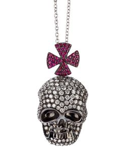 GAVELLO | -Tone 18ct Skull Head Pave With Diamonds Rear Clasp Closure And 18ct Chain