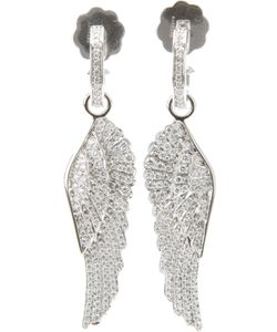 GARRARD | 18kt Wings Earring From Featuring A Pin Fastening A Diamond Set Hoop With A Suspended Earring And A Pave Diamond Set Wing