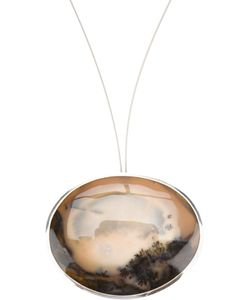 UZERAI EDITS | Long Pendant Necklace From Featuring One Of A Kind Dendric Agate Stone Set In Sterling Suspended On A Stainless Steel Wire