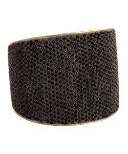 Tom Binns | 24kt Plated Sterling Bejewelled Statement Cuff From Featuring A Jet Pave And An Open Back Rigid Design