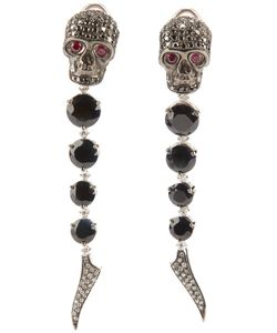 GAVELLO | And And Rhodium Skull Head Earrings From Featuring Diamond Ruby Eyes Sapphires Four Stones On Each Earrings And Diamonds On Rhodium Drops
