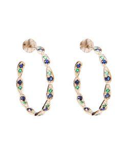 SABINE G | Diamond Sapphire And Emerald Hoop Earrings