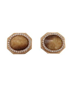 MONIQUE PÉAN | 18k Recycled Walrus Stud Earrings From Featuring Walnut Fossilized Walrus Paved Diamonds Tw