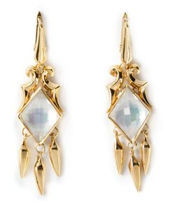 Stephen Webster | 14kt Plated Scroll Hanging Daggers Earrings From Featuring Small Drop Crystal Haze Earring