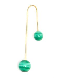 ASHERALI KNOPFER | Single Bar Earring Trimmed With Malachite Pearls From Asherali