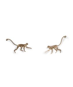 MARC ALARY | 18 Karat Micro Monkey Earrings From Featuring A Post Back Closure And Diamond Accents