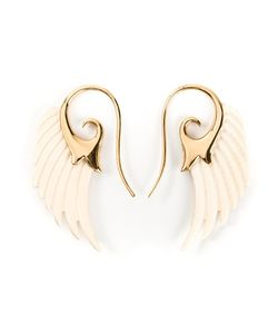 Noor Fares | Ecru Mammoth And 18kt Wing Earrings From Featuring A Hook Fastening