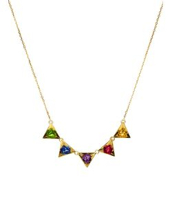 RUIFIER | 18kt Stella Necklace From Featuring A Spring-Ring Fastening A Fine Chain And Five Triangular 18kt Pendants Each Embellished With A Natural Gemstone Comprising Of A Tsavorite A Amethyst Royal And Sunshine Sapphires And A Tourmaline