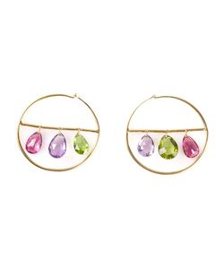 MARIE HELENE DE TAILLAC | 22kt Drop Gemstone Hoop Earrings