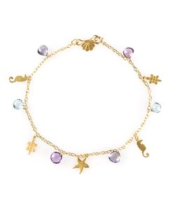 MARIE HELENE DE TAILLAC | 22 Carat Hawaii Charm Bracelet From Featuring A Spring-Ring Fastening A Cable Chain Faceted Stones And Silhouette Charms