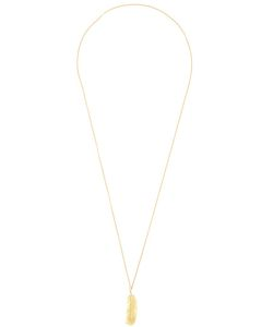 WOUTERS & HENDRIX GOLD | 18kt Long Feather Necklace From Featuring A Feather Design Pendant With A Diamond 0