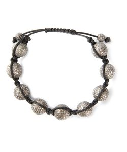 CHRISTIAN KOBAN | Rhodium Plated Sterling Shambhala Diamond Bracelet From Featuring Diamonds Embellished Beads 14