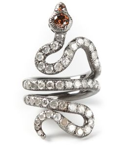 LOREE RODKIN | Rhodium Plated 18kt Pave Coiled Snake Pinky Ring From Featuring Two 0