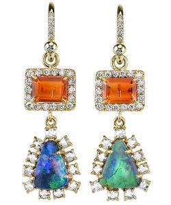 IRENE NEUWIRTH | Fire Opal Tear Drop Earrings From Featuring Pave Set Diamonds And A Back Lever Closure