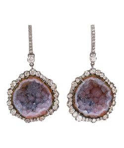 KIMBERLY MCDONALD | Rhodium Earrings Set With Cut Diamonds And A Large Geode From