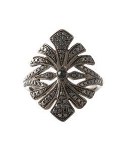 JO LLE JEWELLERY | Antique Tip Finger Ring From Featuring Pave Set Diamonds And An Antique Flower Design