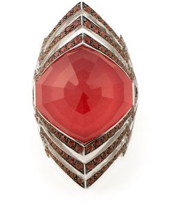 Stephen Webster | 18kt Large Lady Stardust Crystal Haze Ring From Featuring Quartz Coral 1 Pc/2021ct And Graduated Sapphire 128pc/153ct To Sapphire 60pc/052ct