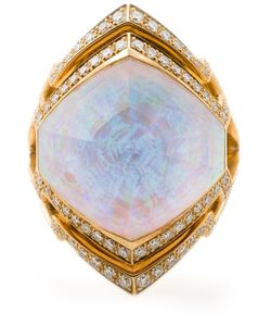 Stephen Webster | 18kt 1415gm Small Crystal Haze Ring From S Lady Stardust Collection Featuring Quartz Hematite 1pc/19
