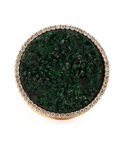 Karolina | 18kt Round And Uvarovite Ring From Featuring Pave Set Diamonds