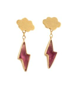 MARIE HELENE DE TAILLAC | 22kt Cloud Tourmaline Lightning Bolt Earrings From Featuring A Butterfly Fastening