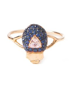 DANIELA VILLEGAS | 18kt Maat Beetle Sapphire Ring From Featuring Pave Set Sapphires