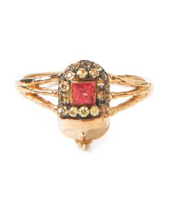 DANIELA VILLEGAS | 18kt Khepri Beetle Diamond Ring From Featuring A Ruby Surround By Champagne Diamonds