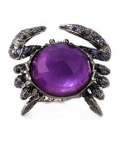 Stephen Webster | 18kt 1729gms Crab Crystal Haze Ring From Featuring Set With A Pave Of Mixed Diamond 145pcs/128ct And Sapphires 145pcs/092ct On Blackened With A Texture Shank With An Amethyst Over Mother Of Pearl 1pc/24