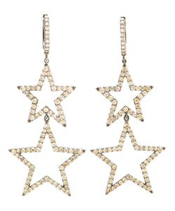 ROSA DE LA CRUZ | Burnished And Diamond Star Earrings From
