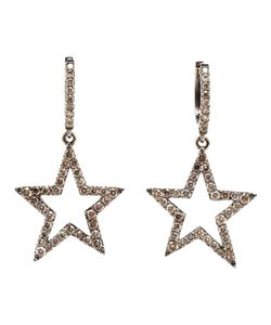 ROSA DE LA CRUZ | 18kt Burnished Hoop Earrings With Suspended Stars From