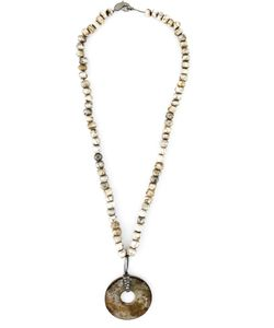 LOREE RODKIN | Diamond Stone Disc Lariat Necklace From Featuring A Lobster Claw Fastening Off And Beads An Extra Large Stone Disc Pendant With Diamonds On Top And A Pave Diamond Bead