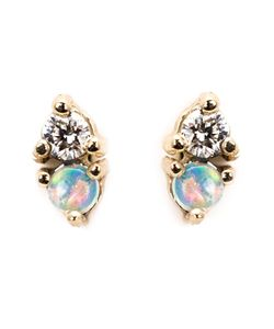 WWAKE | Diamond And Opal Stud Earrings