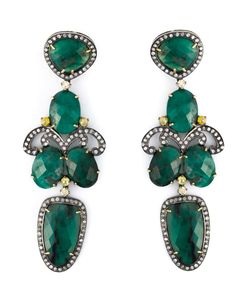 GEMCO | 18kt Drop Chandelier Earrings From Featuring Emerald Embellishment Pave Set Diamonds 292cts And A Butterfly Fastening
