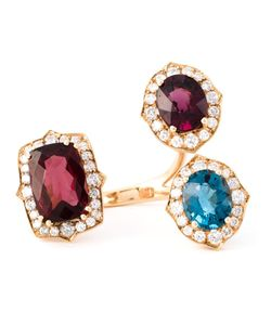 MONAN | 18kt Three Stone Ring From Featuring Topaz 345cts Garnets 1016cts And Diamonds 190cts