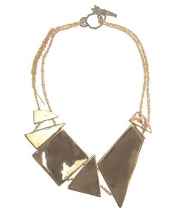 Arielle De Pinto | Necklace From Featuring Highly Polished Brass Geometric Shapes On An Italian Vermeil Crochet Necklace With A Hand Carved Clasp Cast In Solid Brass