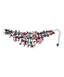 Rodrigo Otazu | Multicoloured Choker Necklace From Featuring A Signature Mix Of Glamour And Roughness Swarovski Crystals In Different Hues Of Violet And And An Adjustable Hook Clasp Closure