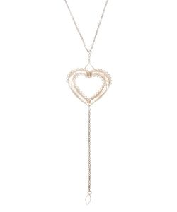 CLIZIA ORNATO | -Tone Necklace From Featuring A Thin Small Link Chain A Rear Lobster Clasp Fastening With A Hanging Logo Disk And An Intricate Heart-Shaped Pendant With A Hanging Central Chain