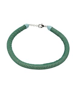 NEKTAR DE STAGNI | Teal Silk Gauze Necklace From Featuring A Contained Crystal Inlay And Back Adjustable Tone Lobster Claw Fastening
