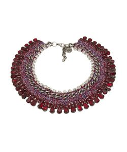 Venessa Arizaga | Sangria Sunrise Necklace From Featuring Juneberry And Glass Rhinestones Melange Threadwork Cable And Box Chain Link And Lobster Clasp Closure