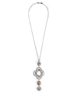 Roni Blanshay | -Tone Metal Baroque Necklace From Featuring A Lobster Clasp Closure A Logo Charm And Crystal Embellishments