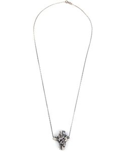 MAXIME LLORENS | Cross Crystal Pendant Necklace From Featuring An Anchor Chain Link And A Lobster Clasp Closure