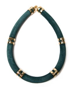 LIZZIE FORTUNATO JEWELS   Suede Double Take Necklace From Featuring A Suede Tube Custom Plated Brass Double Rings And A Double Ring Hook Closure