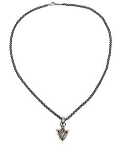 ROMAN PAUL | Sterling Hematite And Diamonds Lion Head Triangle Pendant Necklace From Featuring A Bead Chain And A Lobster Clasp Closure