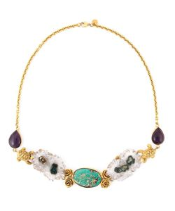 Leivankash | 22kt Plated Semi-Precious Stone Necklace From Featuring Persian Turquoise Stone Sliced Amethysts Amethyst Cabochons Tone Roses And Tone Turtles