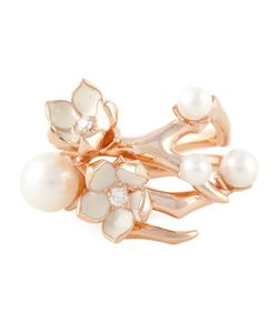 SHAUN LEANE | Vermeil And Sterling Ring From Featuring A Branch Design Pearls As Buds Emalic As Petals And Diamonds As Centres Of Blossoming Flowers