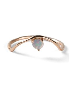 WWAKE | Sloped Arc Ring From Featuring An Opal Stone And A Thin Band