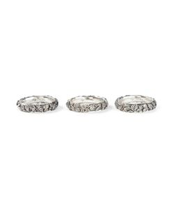 UGO CACCIATORI | Three Pack Leaves Engraved Rings From
