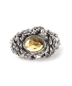 UGO CACCIATORI | Chunky Ring From Featuring A Cast Design An Amber Faceted Gem Centre And A Treated Finish